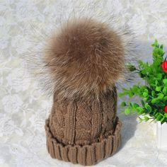 12.98$  Watch now - http://alio2p.shopchina.info/1/go.php?t=32535250951 - Luxurious Fashion Women's Thick Warm Cable Handmade Knit Beanie Hat with Soft Big Fur Pom Pom  #SHOPPING