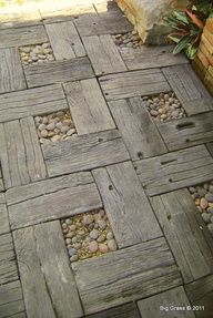 Fabulous rustic walkway idea--if only the neighbor wont miss a few of his old fence boards.