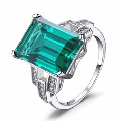 JewelryPalace Solid 925 Sterling Silver Luxury 5.9ct Created Emerald Cocktail Ring for Women Fine Jewelry GIFT