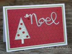 Christmas card using Stampin Up Merry Moments DSP, Wondrous Wreath bundle & tree punch. By Di Barnes for Just Add Ink 270 #colourmhappy #stampinup