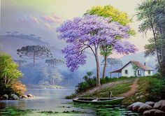 Now this is what I call dream home – mi sitio - Malerei Watercolor Landscape, Landscape Art, Landscape Paintings, Watercolor Art, Beautiful Paintings, Beautiful Landscapes, Image Nature, Cottage Art, Nature Paintings