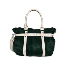 Missy Balloon Suede Leather Tote bi-colour Green | TSM The Swedish Model