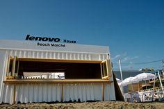 LENOVOコンテナハウス1 青い空にBeach March LENOVO Houseのロゴ