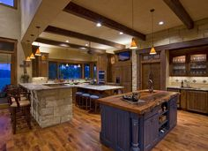 The stone and timber say Hill Country to me. Floor is beautiful. Hill Country Kitchen by Linda McCalla. Texas Home and Living mag Texas Style Homes, Texas Homes, Country Interior Design, Luxury Interior Design, Interior Ideas, Interior Architecture, Hill Country Homes, Ranch Style Homes Country, Luxury House Plans