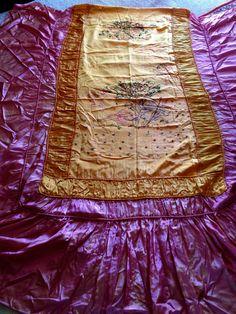Very vintage satin embroidered bedspread