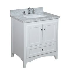 Abbey 30-inch White Bathroom Vanity (Carrera/White): Includes a Soft Close Drawer, Self Closing Door Hinges and Rectangular Ceramic Sink - A...