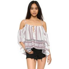 Glamorous Boho Blouse ($27) ❤ liked on Polyvore featuring tops, blouses, white tribal border, white blouse, off shoulder blouse, flutter sleeve top, white tie blouse and ruffle sleeve blouse