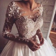 Dramatic A-Line Scoop Long Sleeves Floor-Length Wedding Dress with Appliques