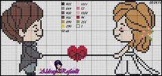 Wedding pattern by Aldray Ferreira Cross Stitch Heart, Cute Cross Stitch, Cross Stitch Flowers, Cross Stitch Kits, Cross Stitch Designs, Cross Stitching, Cross Stitch Embroidery, Embroidery Patterns, Baby Cross Stitch Patterns