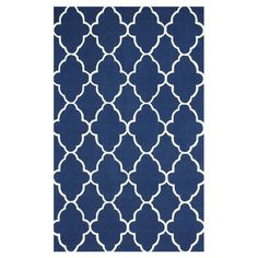 Define an area in your living room or master suite with this hand-hooked wool rug, showcasing a scalloped trellis motif in royal blue.
