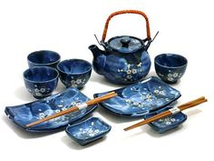 Indigo Dream Tea/Sushi Set Romantic Gift Idea - Tea Set - Ideas of Tea Set - Indigo Dream Tea/Sushi Set Romantic Gift Idea Sushi Set, Kintsugi, Japanese Tea Set, Japanese Table, Vase Deco, Dream Tea, Blue Cherry, Do It Yourself Furniture, Tea Service
