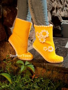 Crochet Boots Crocheted Shoes Handmade Boots Outdoor by JoyForToes