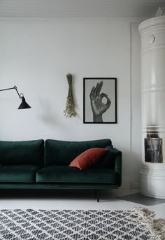 Remarkable photo - read up on our story for way more innovations! Minimalist Living Room, Green Living Room Decor, Living Room Decor Inspiration, Living Room Designs, Living Room Sofa, Lounge Interiors, Couches Living Room, Concrete Floors Living Room, Green Couch Living Room