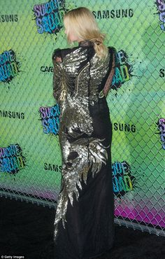 Aug. 4, Marmot 2016 - Robbie wears sequined unicorn dress by Alexander McQueen to Suicide Squad premiere