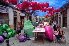 Festa Major de Gracia Barcelona Catalonia, Travel Inspiration, Spain, Festivals, Street, Home Decor, Colored Ceiling, Ceiling, Thanks