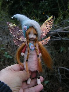 sweet  redhaired  posable forest  fairy fairie with removable wings ooak Though the Magic Door-etsy