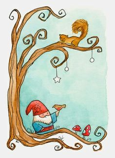 more of a cute stylized gnome illustration- less vintage more cute