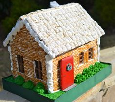 Log Cabin Home Photos | How to build a Christmas Ginger Bread Log Cabin House recipe |
