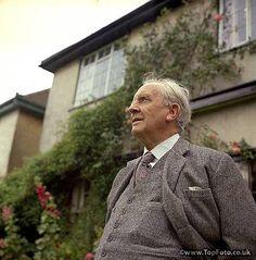 JRR TOLKIEN ;John Ronald Ruel Tolkien ;Photographed in his garden at 76 Sandfield Road