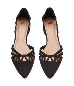Black. Flats in perforated imitation suede with pointed toes and rubber  soles. Black Ballet 3c68d352ed0