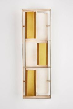 View this item and discover similar for sale at - Rare rectangular brass wall light designed by Gio Ponti for Arredoluce in Italy, circa Wired for US junction boxes. Takes three European candelabra