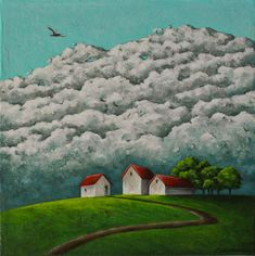 Landscape painting, Barn painting, Cloud painting, Green countryside landscape, Impressionist, Original art, Acrylic on canvas, 10x10 inches Etsy Handmade, Handmade Gifts, Crow Painting, Countryside Landscape, Acrylic Paint On Wood, Affordable Art, Art Online, Beautiful Artwork, Impressionist