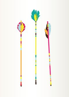 Arrows art print colorful illustration 5 x 7 by GraphicAnthology, $9.00