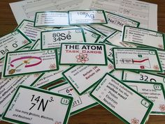 The Atom 28 Task Cards for Physical Science & Chemistry Chemistry Worksheets, Science Chemistry, Physical Science, Science Experiments, Atomic Theory, Scientific Journal, High School Students, Classroom Activities, Task Cards