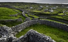 Muros de pedra criam um cenário idílico na Irlanda.