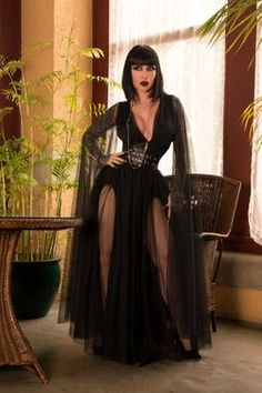 Gothic Glamour Bombshell Gown in Black with Floor Length She.- Gothic Glamour Bombshell Gown in Black with Floor Length Sheer Cape Sleeves Gothic Glamour Breezy Bombshell Gown in Black with Floor Length Sheer Cape Sleeves - Goth Beauty, Dark Beauty, Diy Outfits, Fashion Outfits, Womens Fashion, Dark Fashion, Gothic Fashion, Steampunk Fashion, Goth Women