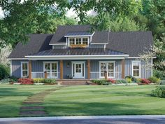 001H-0245: Country Southern House Plan; 2041 sf Garage Floor Plans, Farmhouse Floor Plans, Country Farmhouse, Country Home Plans, Farm Plans, American Farmhouse, Farmhouse Flooring, Modern Farmhouse Style, Farmhouse Ideas