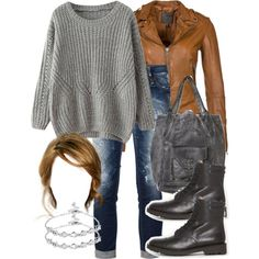 """""""Malia Inspired Outfit with a Camel Leather Jacket"""" by veterization on Polyvore"""