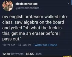 """the exact inverse of this is the day my intermediate macro prof walked into class, saw some math and graphs on the board and was like """"oh this is stuff from labor economics, neat"""" Funny Tweets, Funny Jokes, Hilarious, Izu, Funny Pins, Funny Stuff, Random Stuff, School Memes, Stupid Funny"""