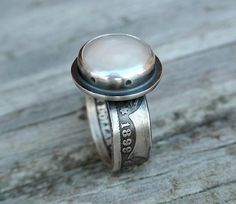 Silver Pearl Coin Ring made from a Barber Quarter #CoinRing #PearlRing #HandmadeJewelry