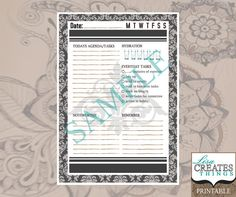 Damask Design - Day Planner Page A5 Printable