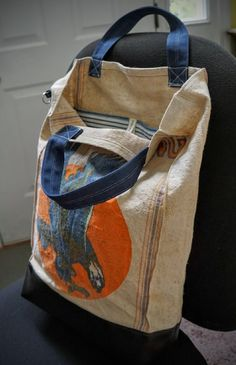Extra-Tall Tote from Vintage Sterling Seed Sack by w3bch1ck