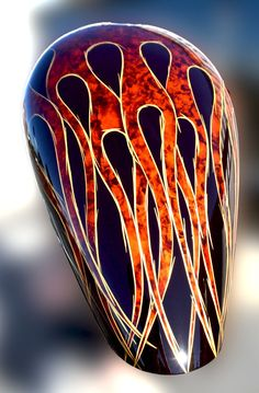 Liquid Transformations :: Bikes & Atv Harley Motorcycle Gas Tank, WTP-486 Proveil Reaper Black, Orange Candy, Flames, Pinstriping