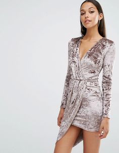 Image 1 of Club L Crushed Velvet Wrap Over Long Sleeve Dress