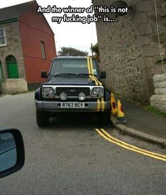 funny-car-painting-yellow-marks-street