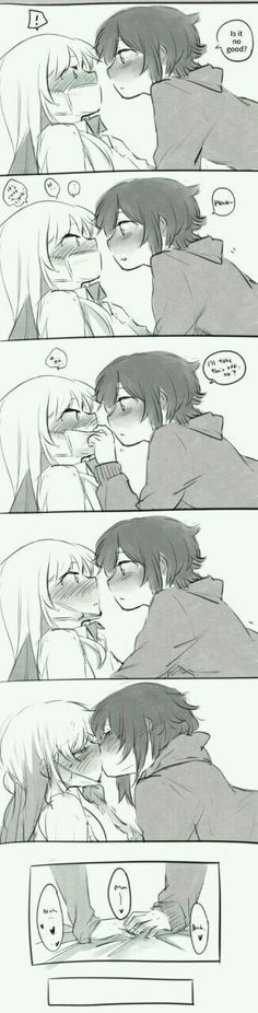 Fun fact: Kissing raises core body temperature and releases relaxing hormones, which are good when you're sick. So all the person who isn't sick has to do is boost their immune system. Anime Girlxgirl, Couple Anime Manga, Anime Couple Kiss, Yuri Anime, Anime Eyes, Anime Comics, Manga Girl, Anime Girls, Anime Couples Drawings