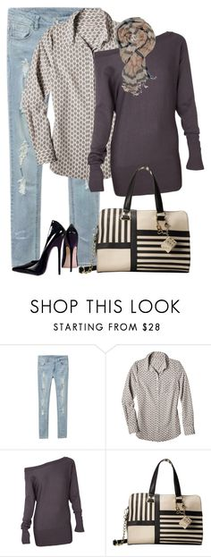 """Gray Pattern Mixer"" by lisa-holt ❤ liked on Polyvore featuring Betsey Johnson"