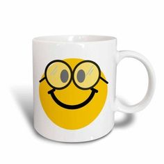 3dRose Geeky smiley face Cute geek Happy nerd yellow smilie with glasses Smiling studious cartoon smile, Ceramic Mug, 15-ounce