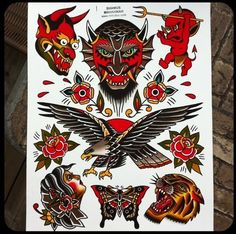 I live in tropical paradise Costa Rica P Tattoo, Devil Tattoo, Body Art Tattoos, Traditional Tattoo Animals, Traditional Tattoo Design, Tattoo Tradicional, Traditional Tattoo Old School, Old School Tattoo Designs, Sailor Jerry