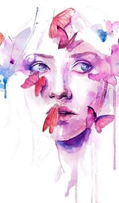 Artwork by Silvia Pelissero / Agnes Cecile Watercolor Face, Watercolor Portraits, Watercolor Paintings, Monet Paintings, Watercolor Tattoos, Portrait Paintings, Art And Illustration, Watercolor Illustration, Inspiration Art