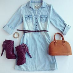 denim dress and peeptoe booties, love the color <3