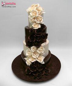 Cascading Roses Chocolate Wedding Cake