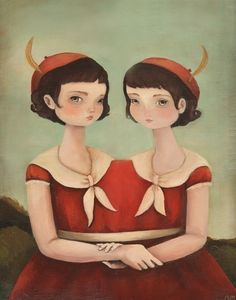 """The Twins by Emily Martin 8"""" x 10"""" Print This print is from her wonderful show """"Lost on the Midway"""" that was in the Land Gallery in 2010. The series, which depicts an imaginary carnival was inspired b"""