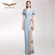 eecc8f2d14ff CONIEFOX 32206 Sexy Fashion Asymmetric Ladies Retro elegance Appliques prom  dresses party evening dress gown long 2017 new. Silver Sequin ...