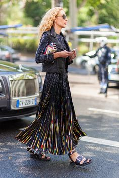 that Givenchy skirt. #ElinaHalimi in Paris.