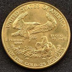 Numismática: Moeda dos Estados Unidos da América, Valor 25 Dollares, Ano 1986, Ouro 22K, Peso 16,9 g